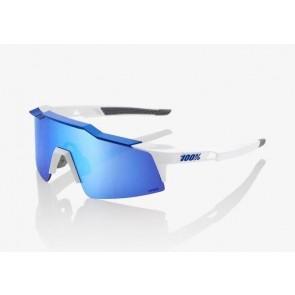 GAFAS 100% SPEEDCRAFT XS- MATTE WHITE - METALIC BLUE MULTILAYER MIRROR LENS