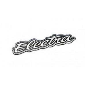 Pegatina del logo para protector de cadena Electra Script Metal Plata